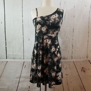 ANGIE Fit & Flare Floral Print Dress Black
